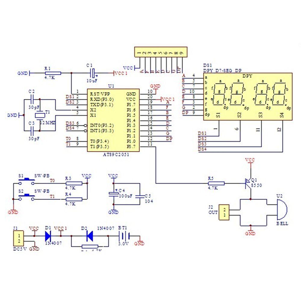 74ba64264b10 KITS DE ENSAMBLAJE   Kit de Ensamblaje Reloj Electronico C51 4 Bit