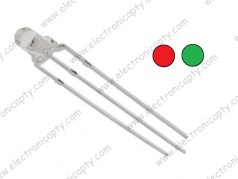 Diodo LED Bicolor 3mm 3pin  (Rojo,Verde - Catodo Comun)