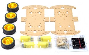 Kit Carro Robot 4 Ruedas  con Motor y Porta Bateria  ( Car Kit)